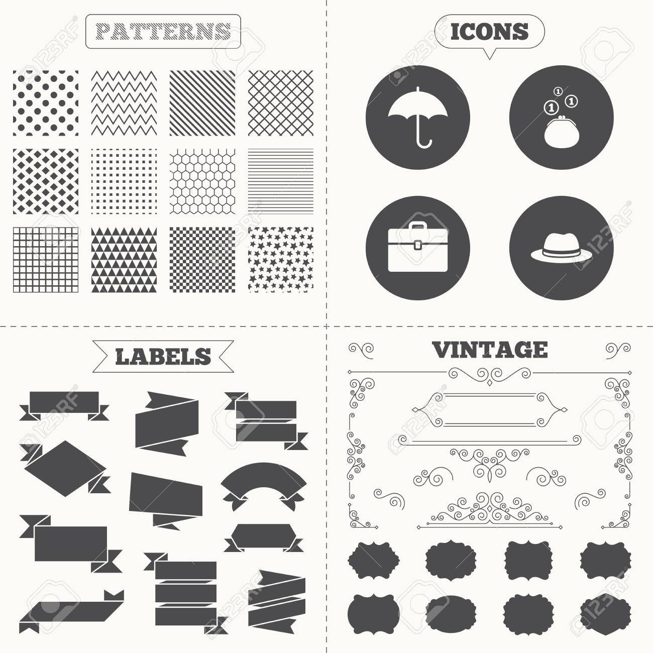Seamless Patterns Sale Tags Labels Clothing Accessories Icons