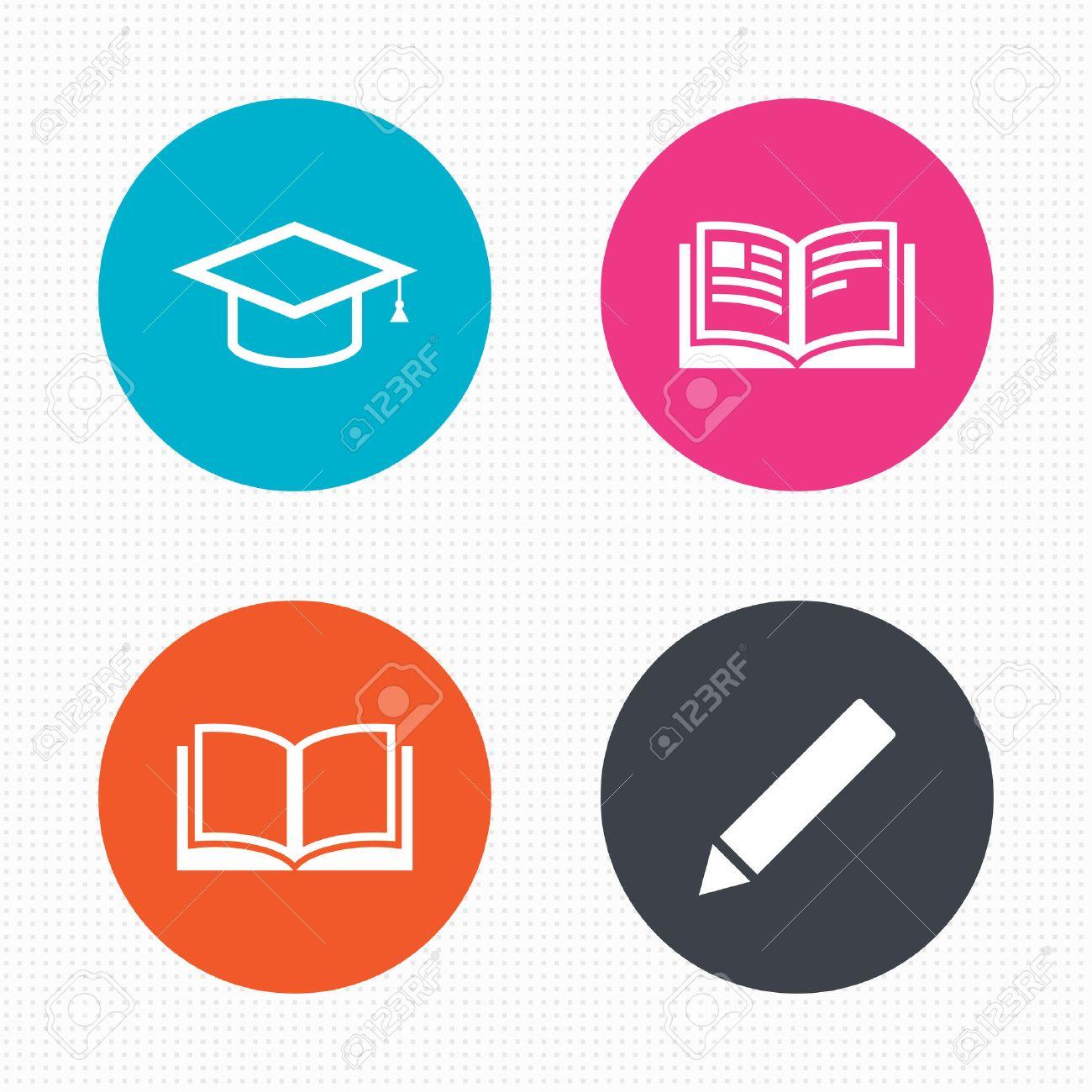 Kreis-Schaltflächen. Bleistift Und Offenes Buch Icons. Graduation ...