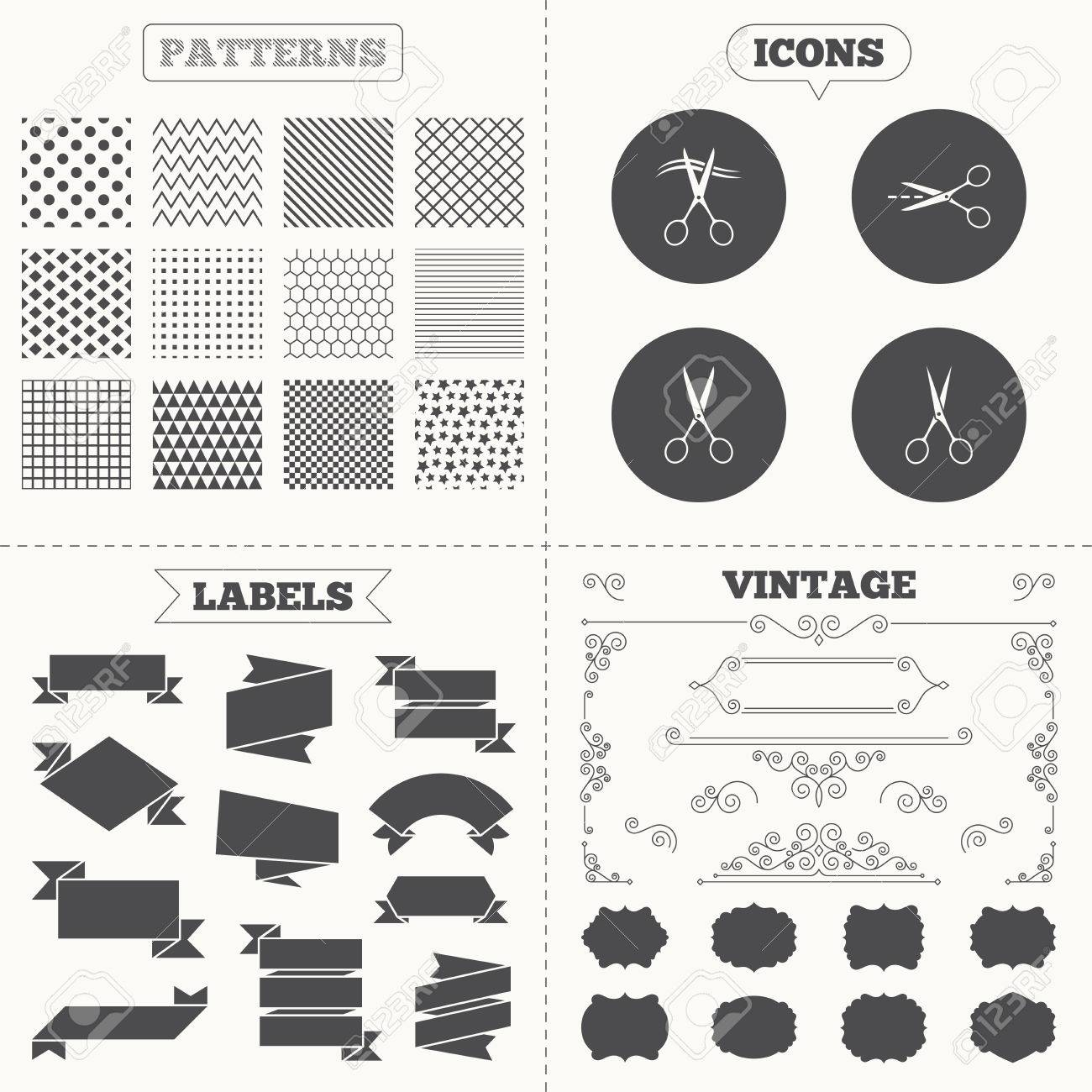 Seamless Patterns Sale Tags Tiquettes Ciseaux Ic Nes Coiffeur Ou