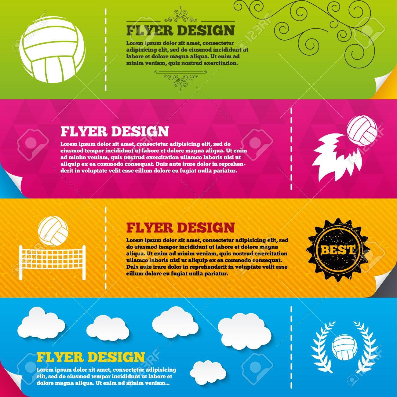 Diseños De Folleto Folleto. Voleibol Y Los Iconos Netos. Ganador De ...