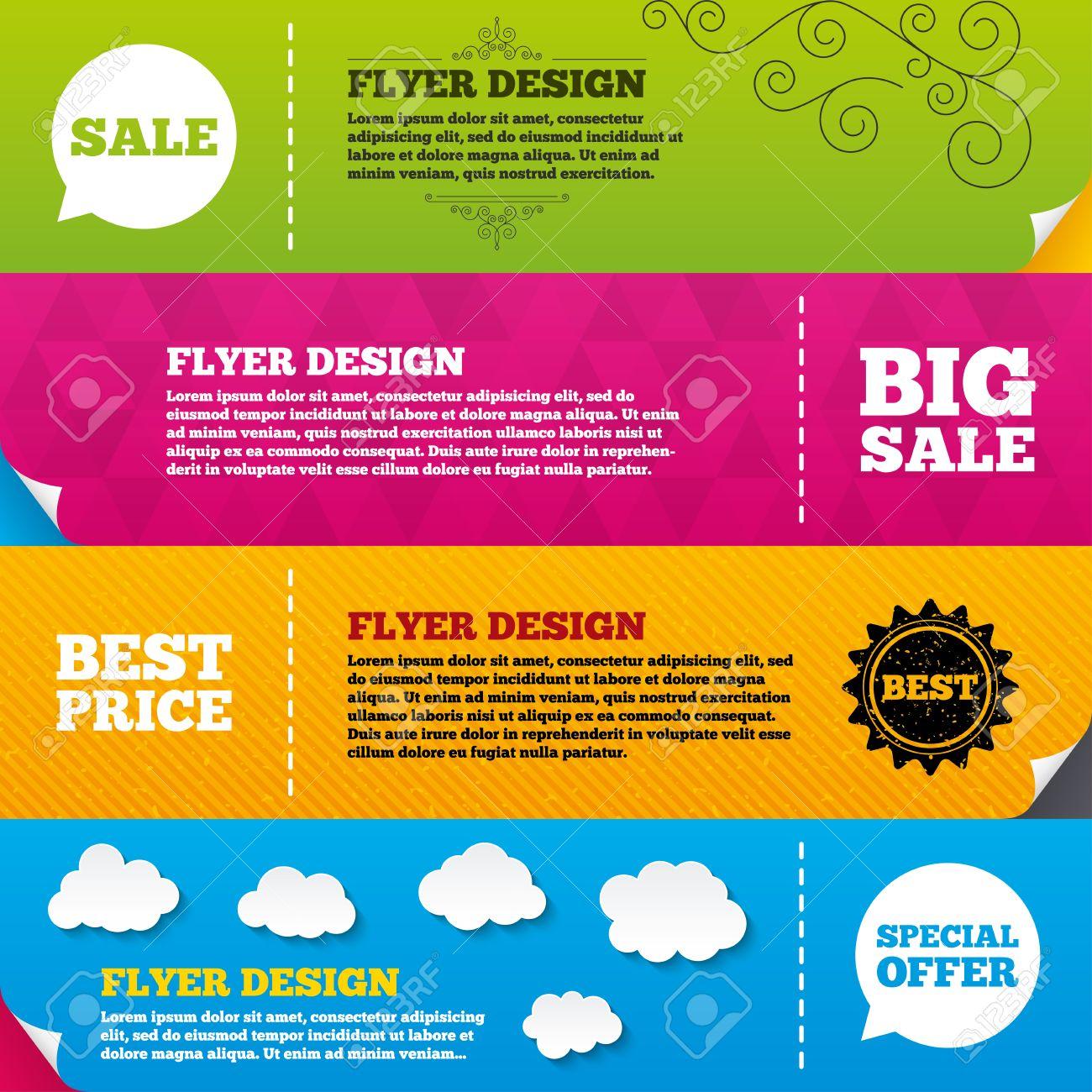 flyer brochure designs sale icons special offer speech bubbles
