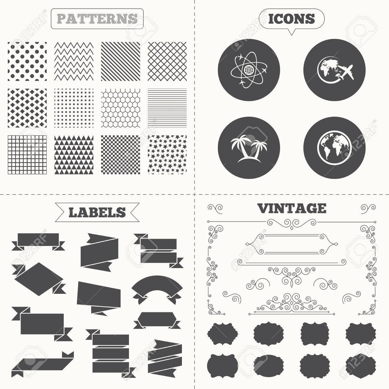 seamless patterns. sale tags étiquettes. voyage voyage icône. avion