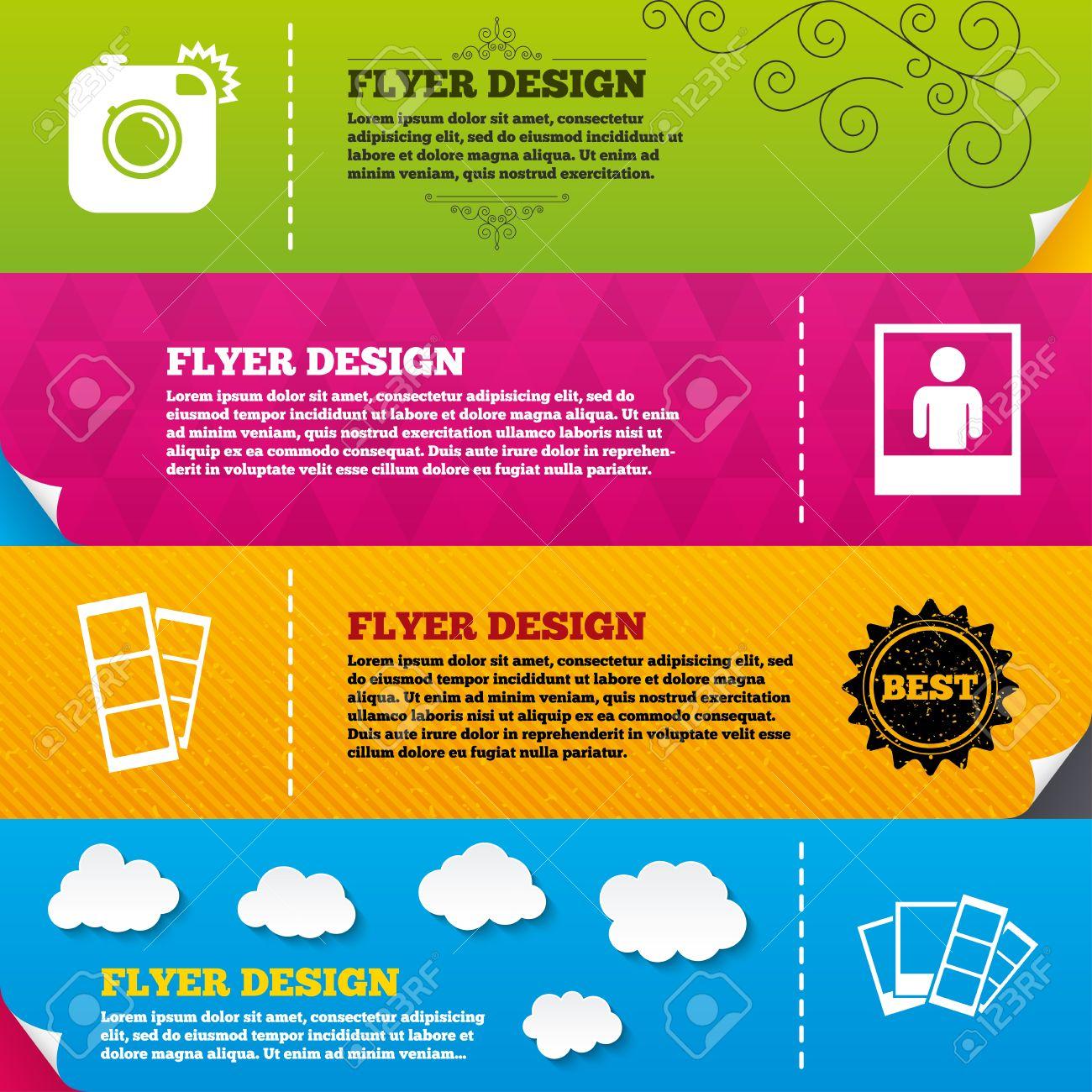 Flyer Broschüre Designs. Hipster Foto Kamera-Symbol. Blitzlicht ...