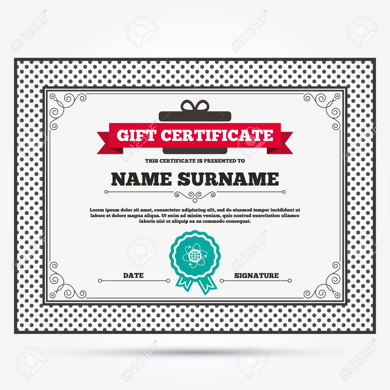 Gift certificate globe sign icon world logistics symbol gift certificate globe sign icon world logistics symbol worldwide travel flights template yadclub Choice Image