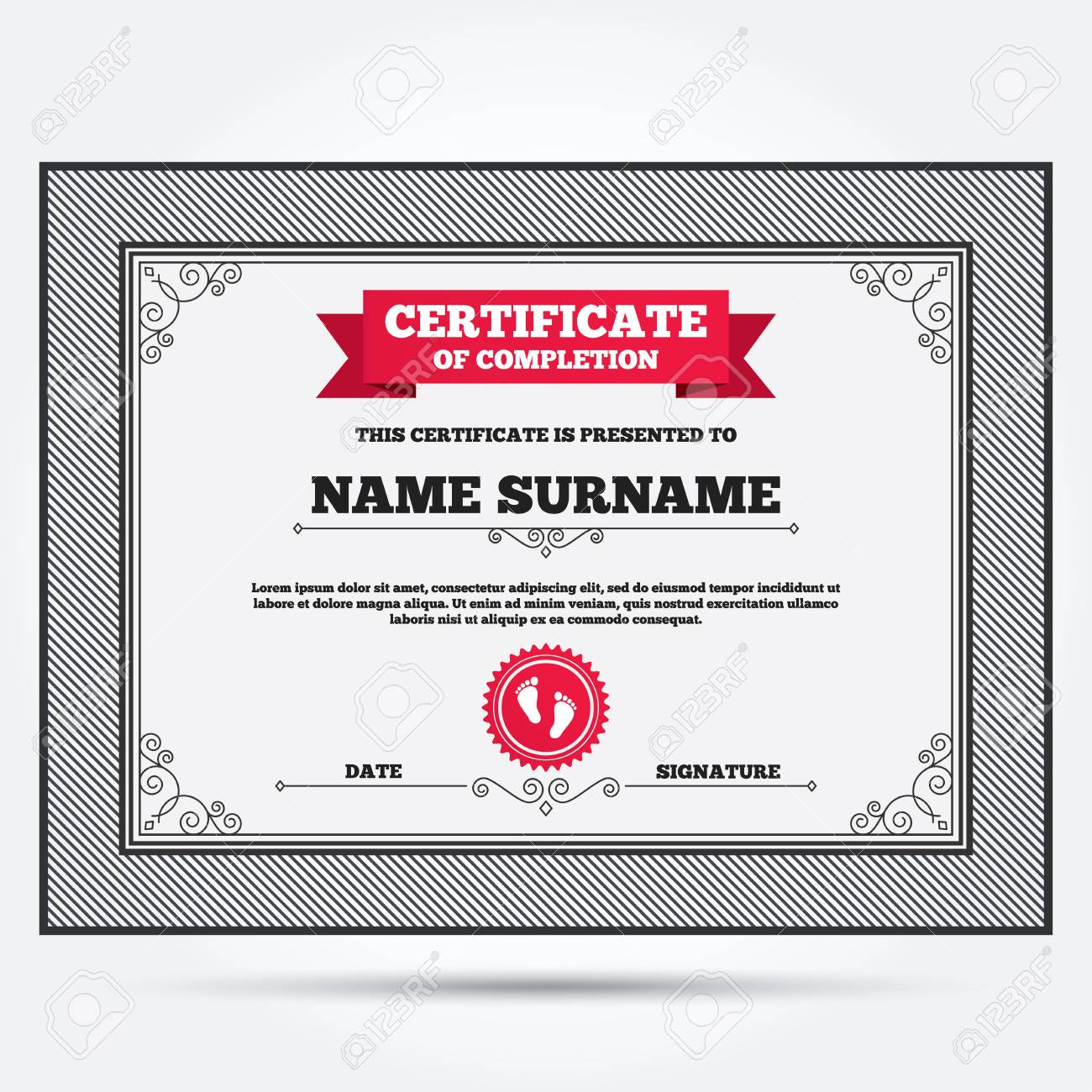Certificate Of Completion Child Pair Of Footprint Sign Icon