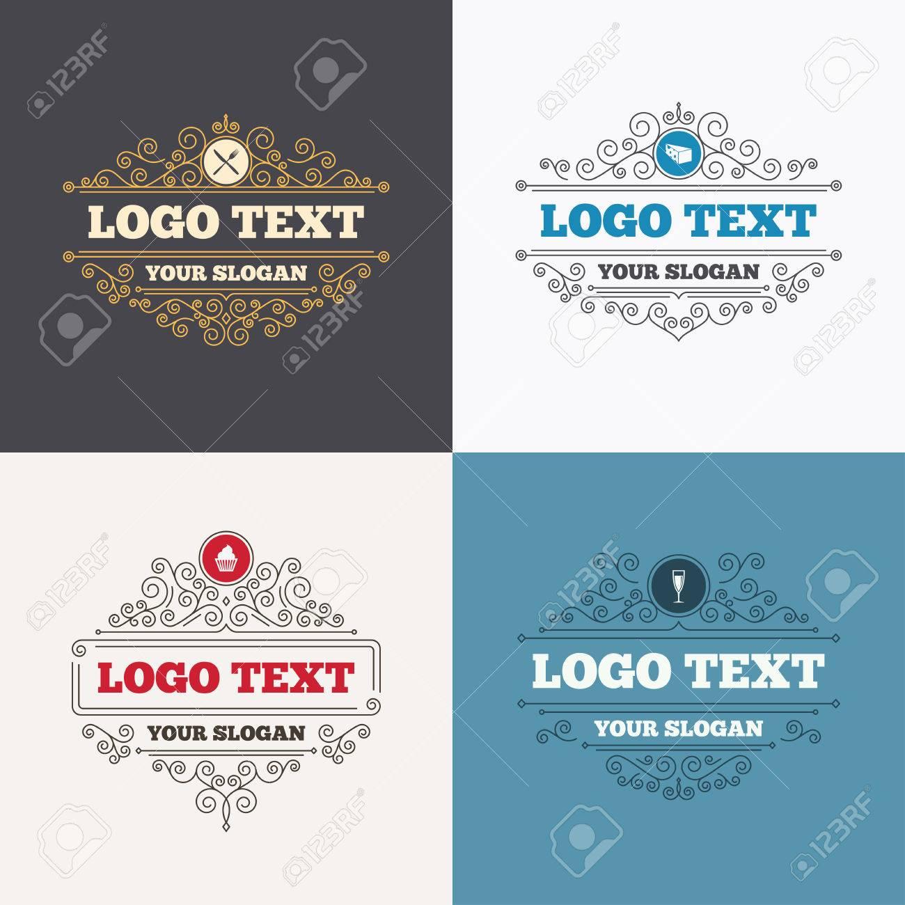 Flourishes Calligraphic Emblems Food Icons Muffin Cupcake Symbol