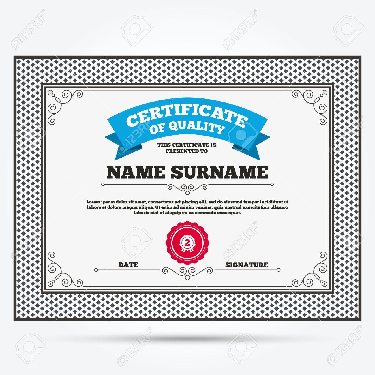 Qualitätszertifikat. Der Zweite Platz Auszeichnung Zeichen-Symbol ...