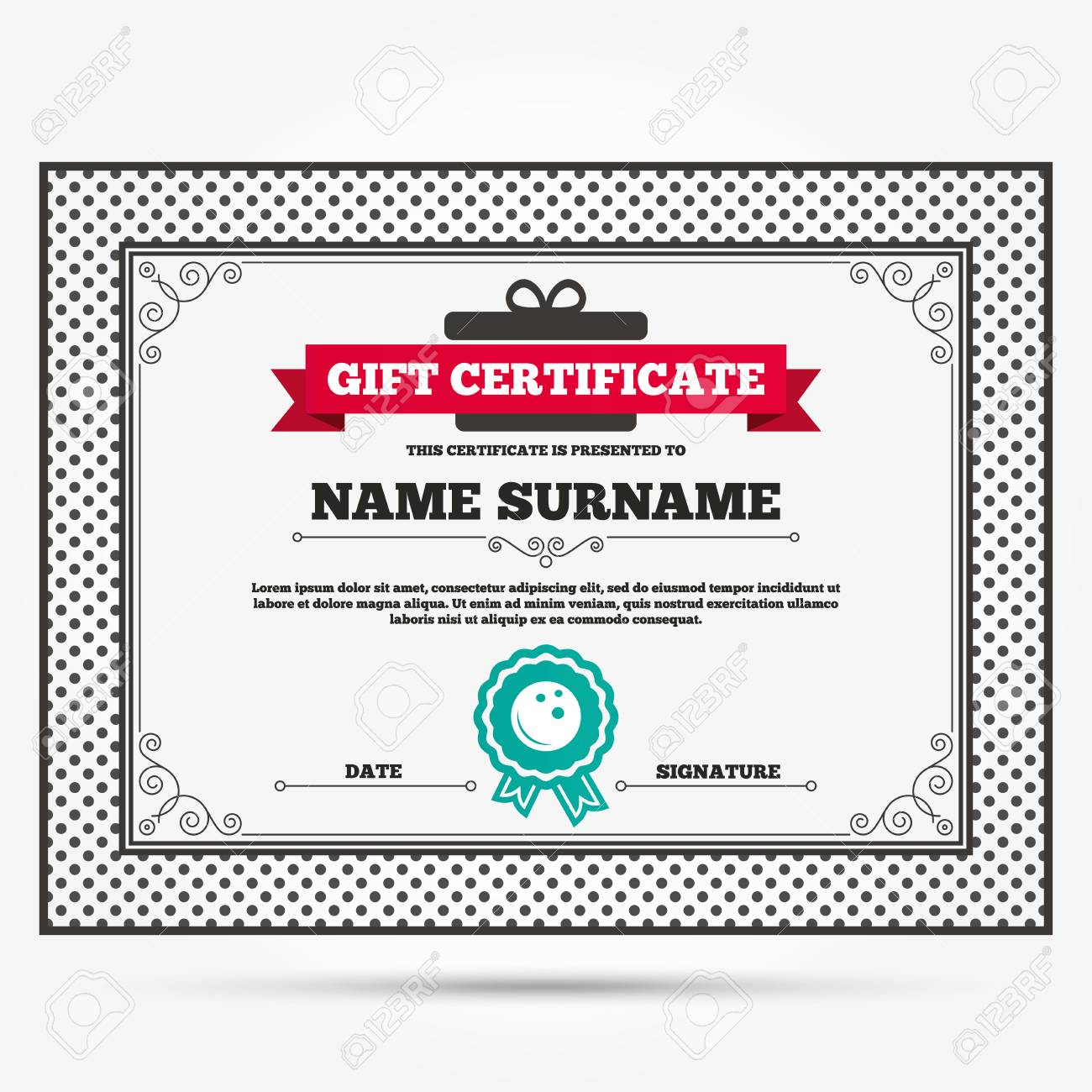 Gift certificate template free tennis report template microsoft word gift certificate bowling ball sign icon bowl symbol template 41883648 gift certificate bowling ball sign icon bowl symbol template with vintage patterns xflitez Image collections