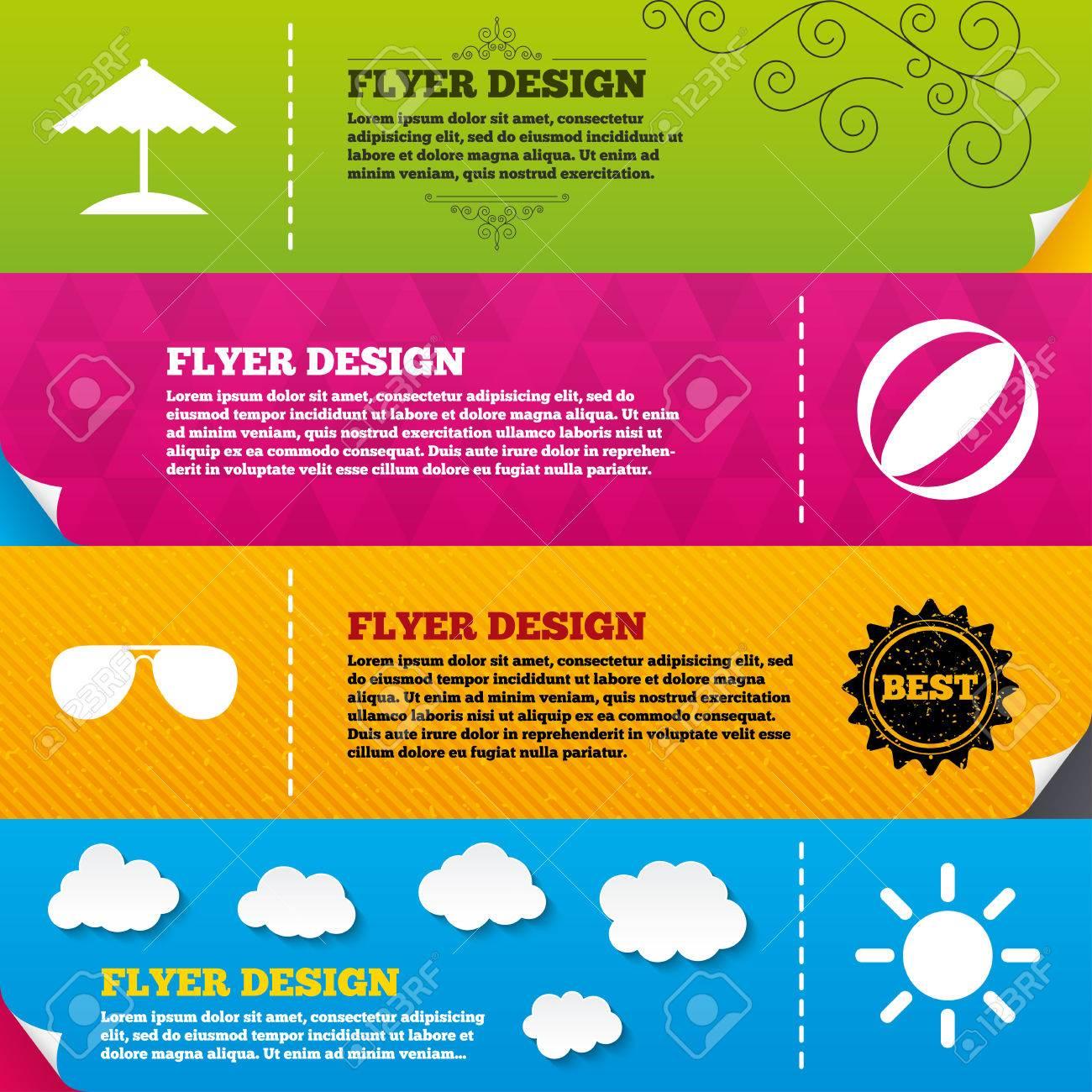 Flyer Broschüre Designs. Strandferien Symbole. Ball, Regenschirm Und ...