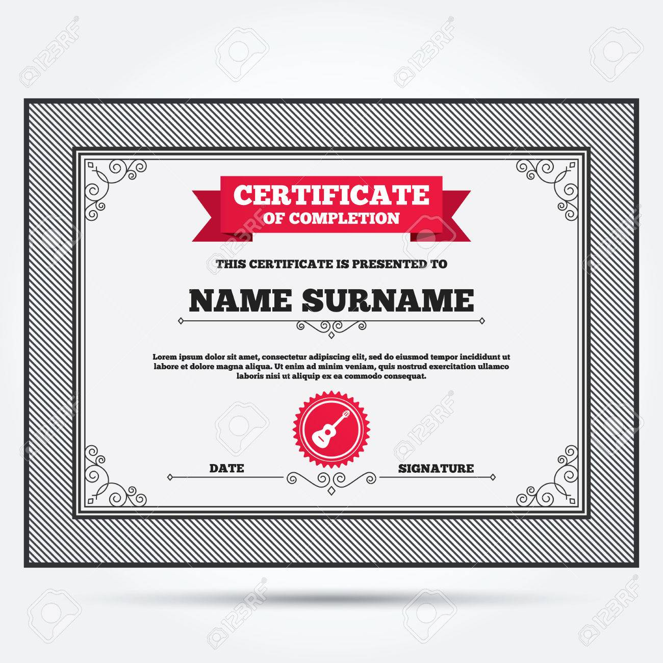 Certificate of completion acoustic guitar sign icon music symbol certificate of completion acoustic guitar sign icon music symbol template with vintage patterns alramifo Image collections