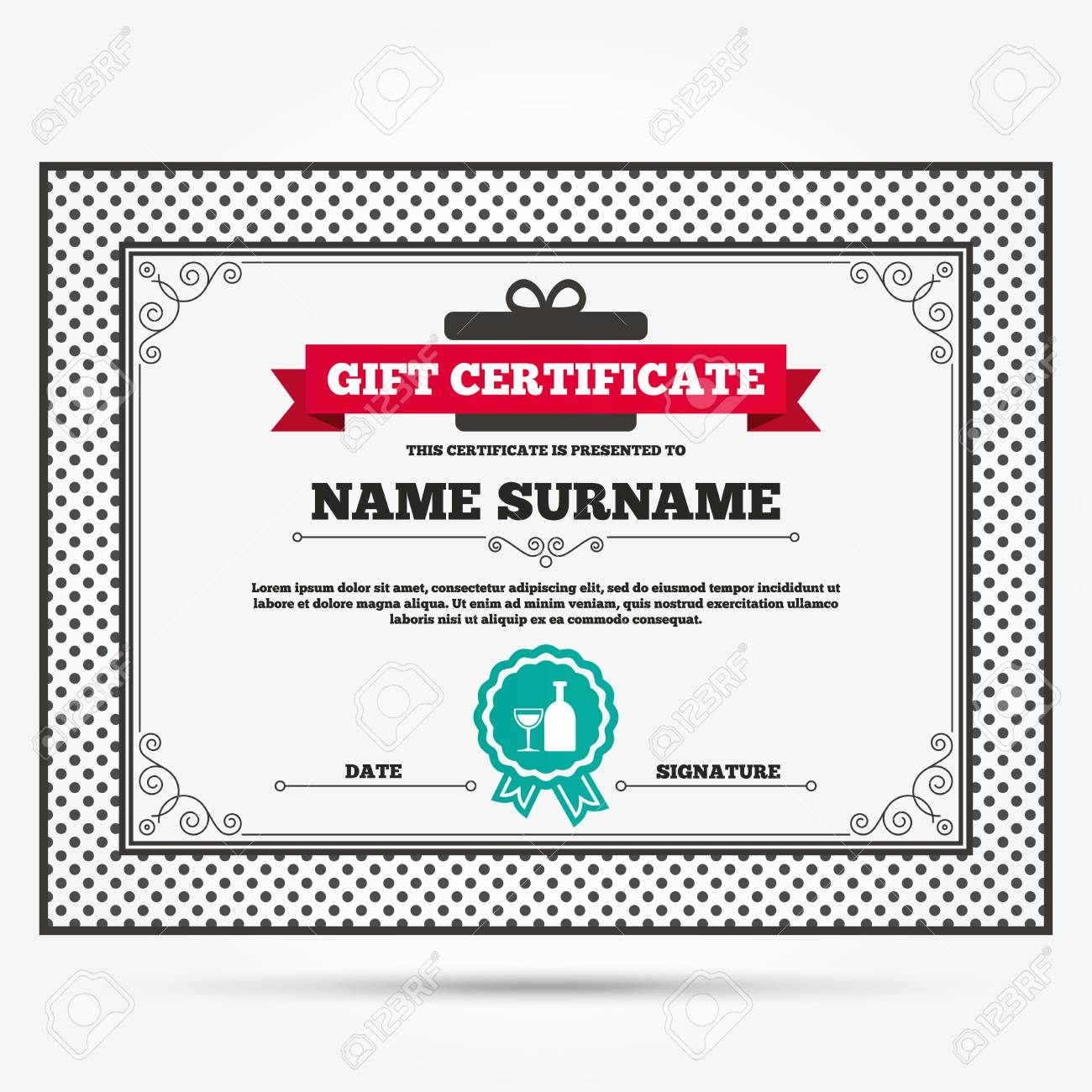 Gift Certificate. Alcohol Sign Icon. Drink Symbol. Bottle With ...