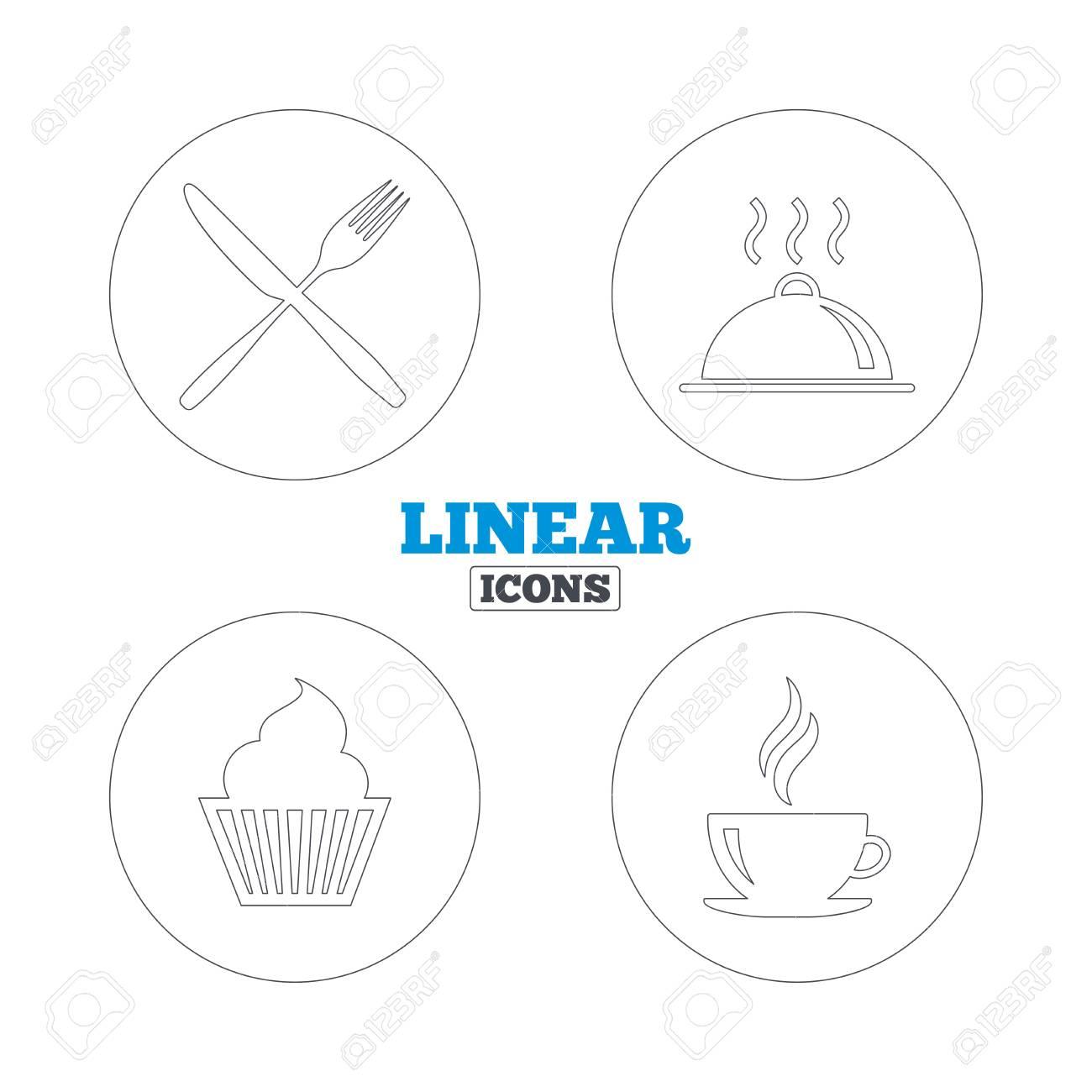 Essen Und Trinken Icons Muffin Kuchen Symbol Gabel Und Messer