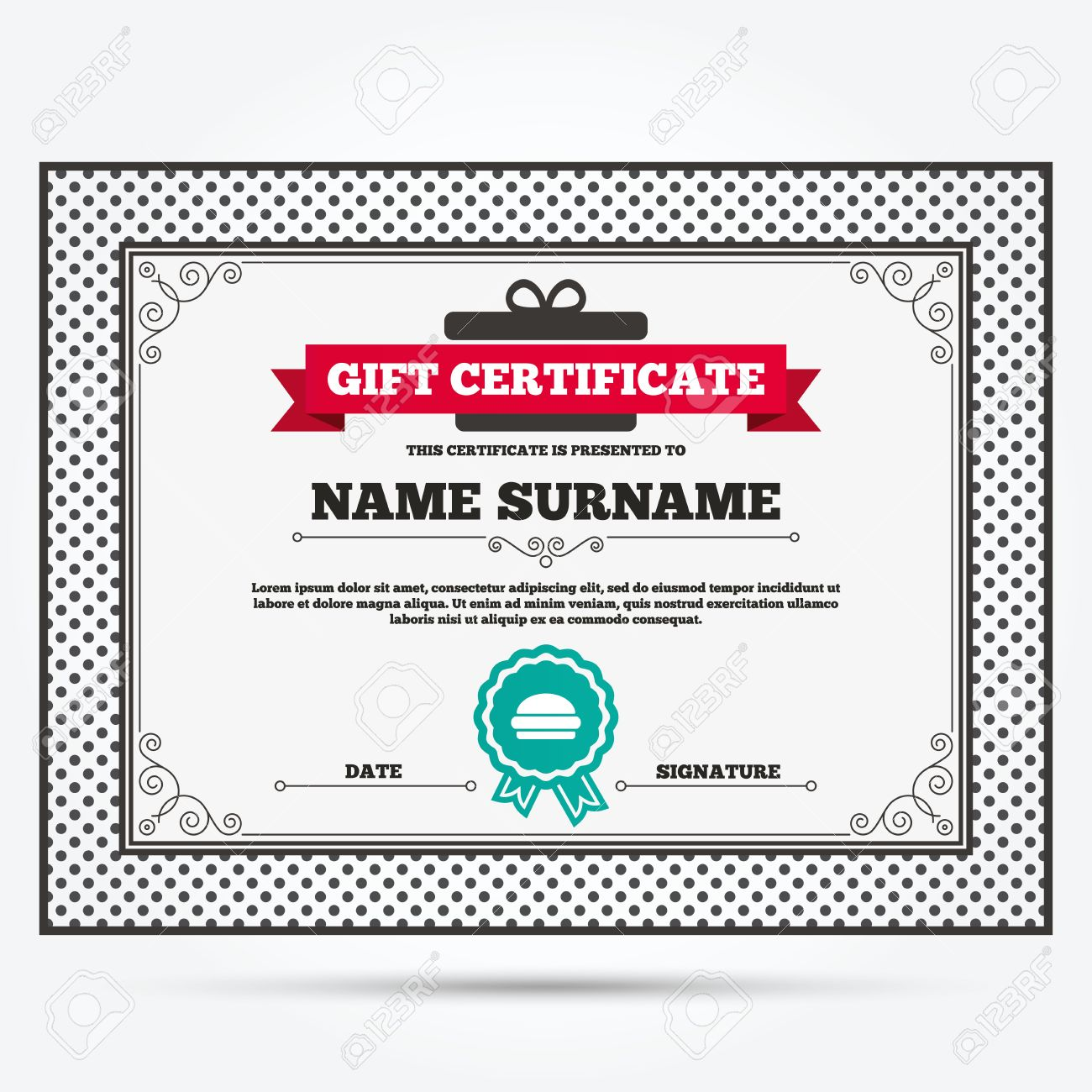Gift Certificate Hamburger Sign Icon Fast Food Symbol Junk