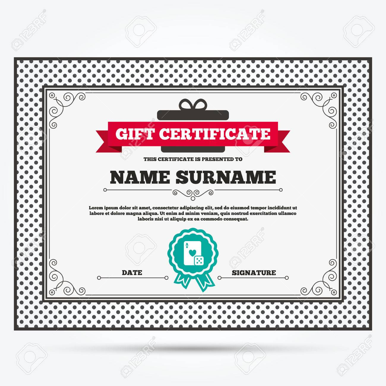 Gift Certificate Casino Sign Icon Playing Card With Dice Symbol