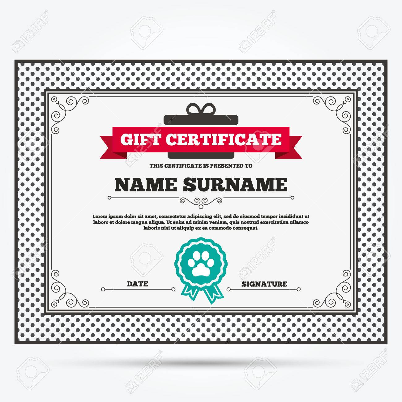 Gift Certificate Dog Paw Sign Icon Pets Symbol Template With - Dog gift certificate template free