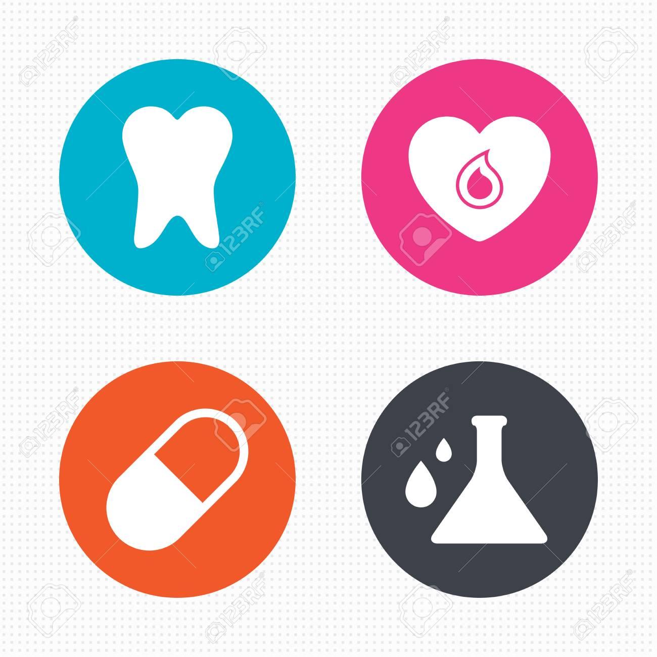 Kreis-Schaltflächen. Mutterschaft Icons. Pill, Zahn, Chemie Und ...