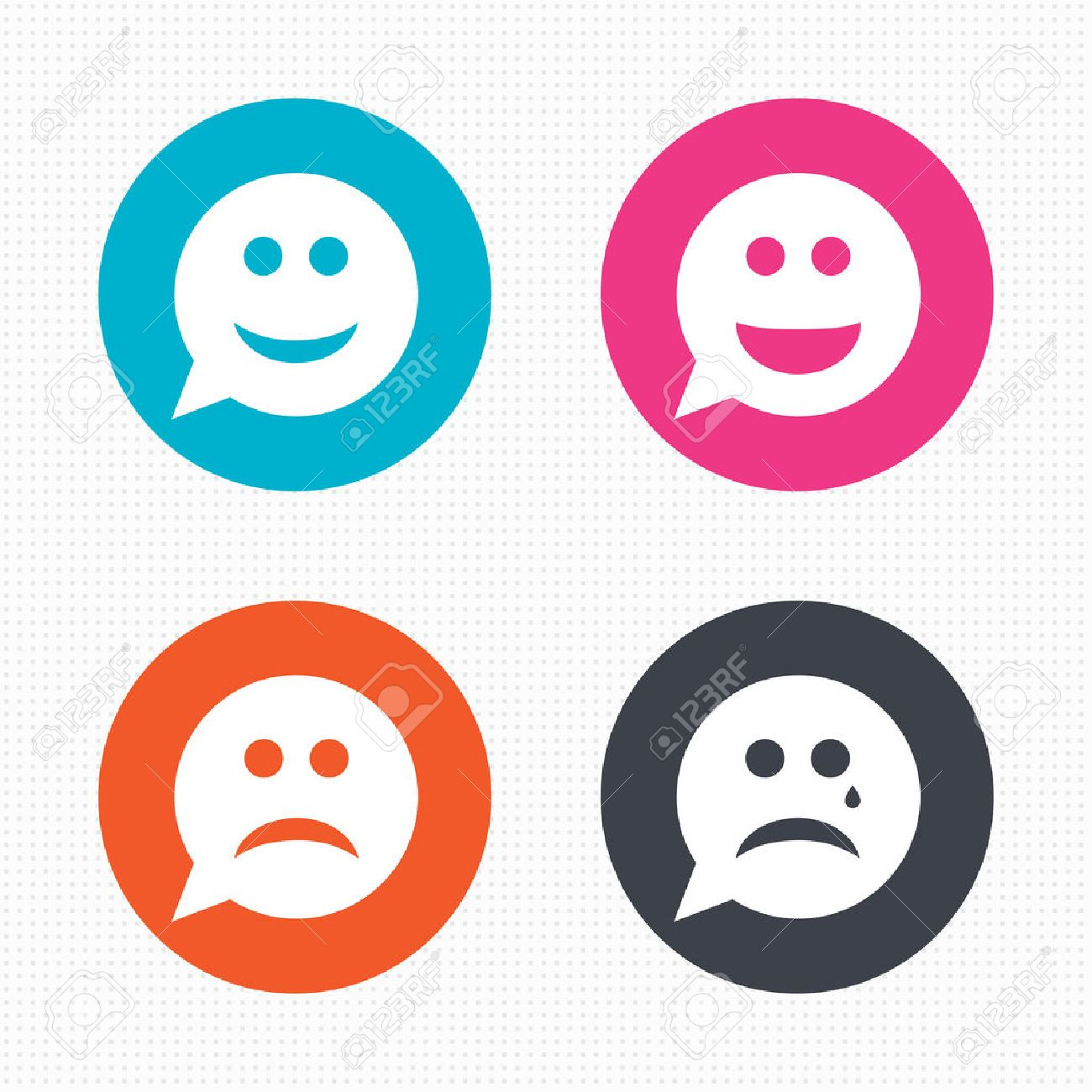 Happy face stock photos royalty free business images speech bubble smile face icons happy sad cry signs buycottarizona Choice Image