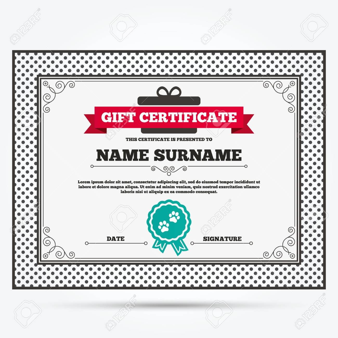 Gift certificate paw sign icon dog pets steps symbol template gift certificate paw sign icon dog pets steps symbol template with vintage patterns yelopaper Images
