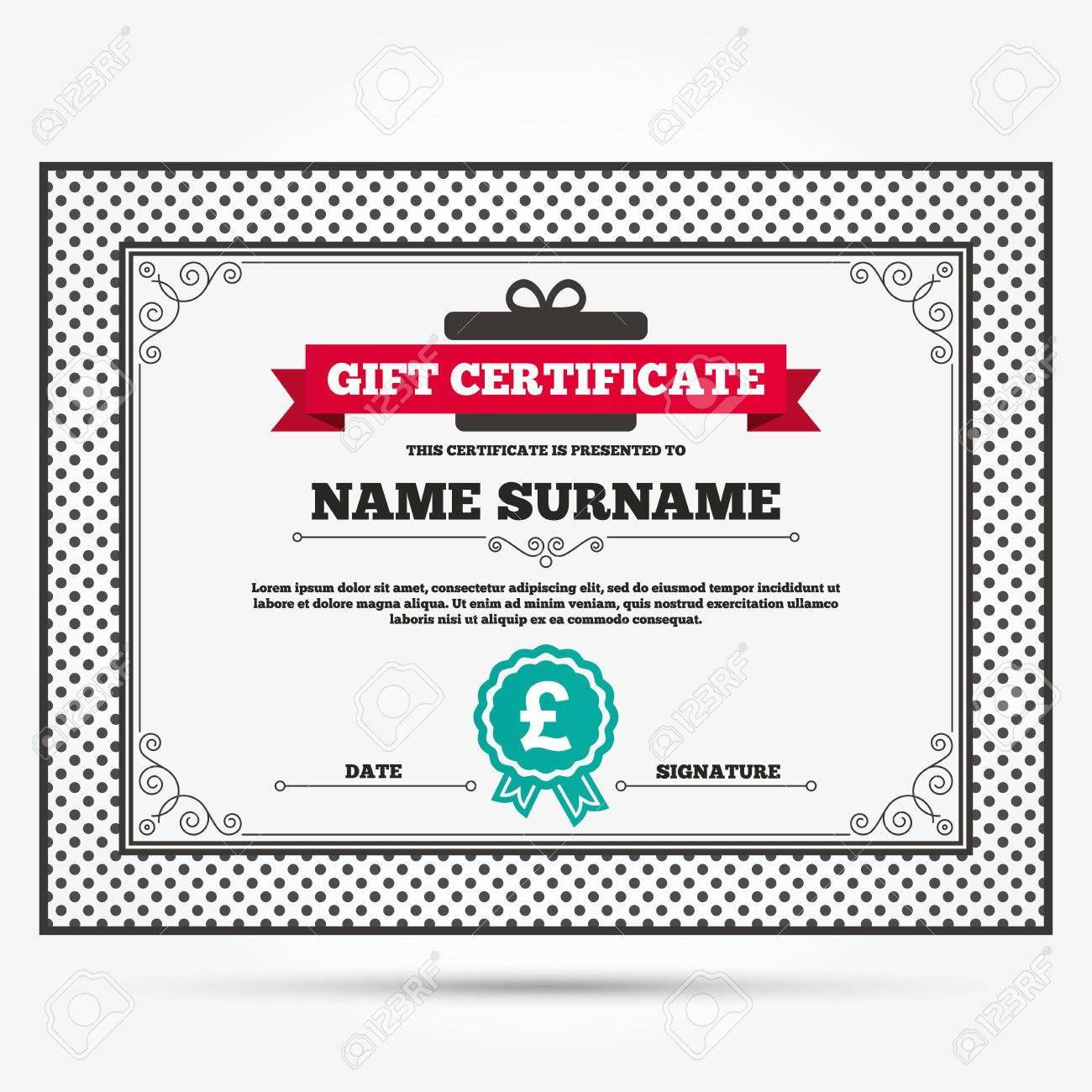 Gift certificate pound sign icon gbp currency symbol money pound sign icon gbp currency symbol money label template with buycottarizona Gallery