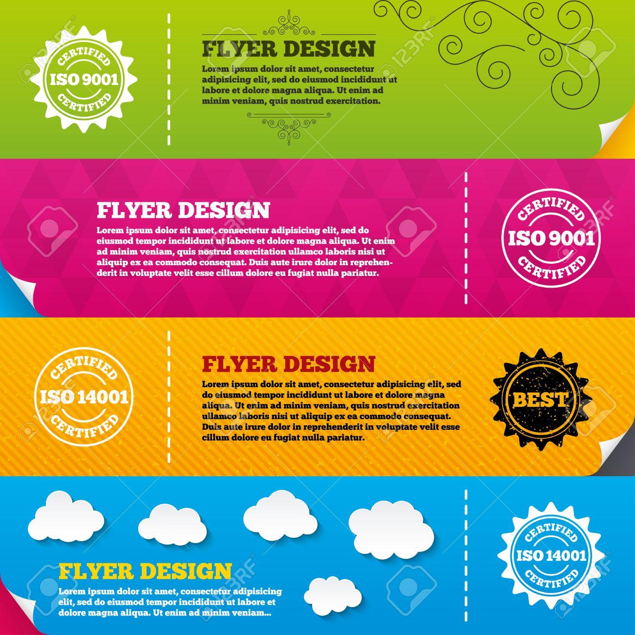 Flyer Broschüre Designs. ISO 9001 Und 14001 Zertifiziert Symbole ...