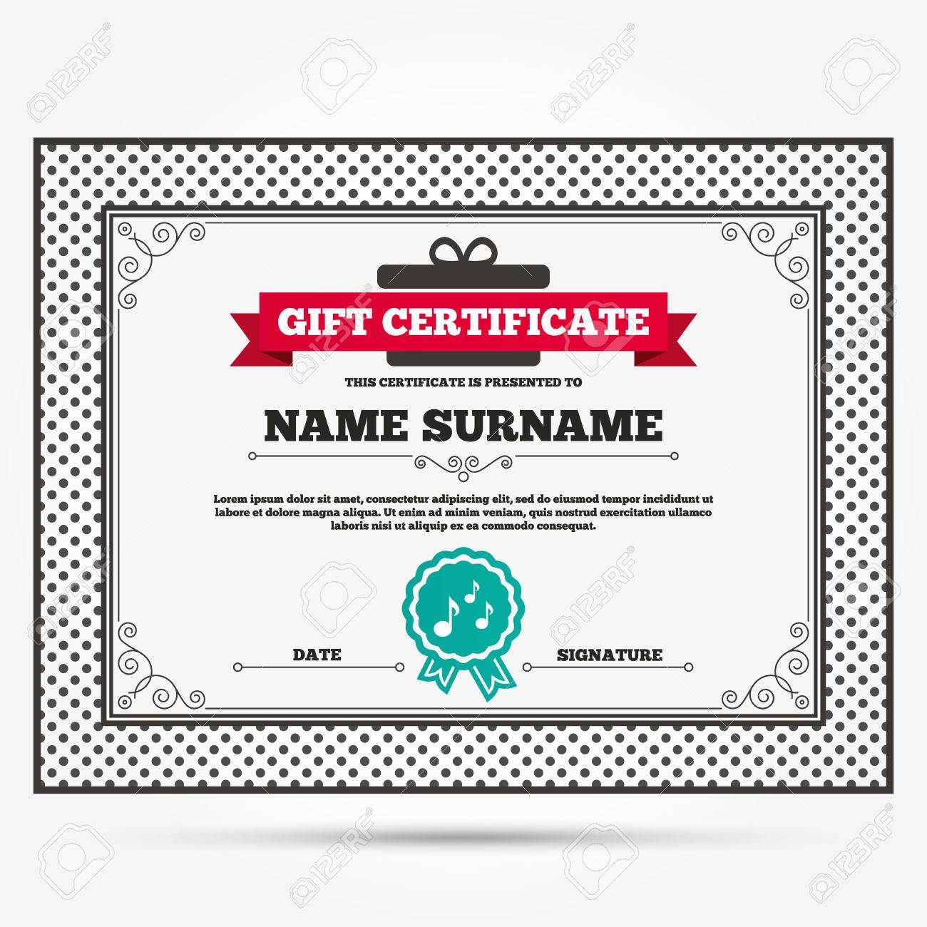 Gift Certificate Music Notes Sign Icon Musical Symbol Template With Vintage Patterns