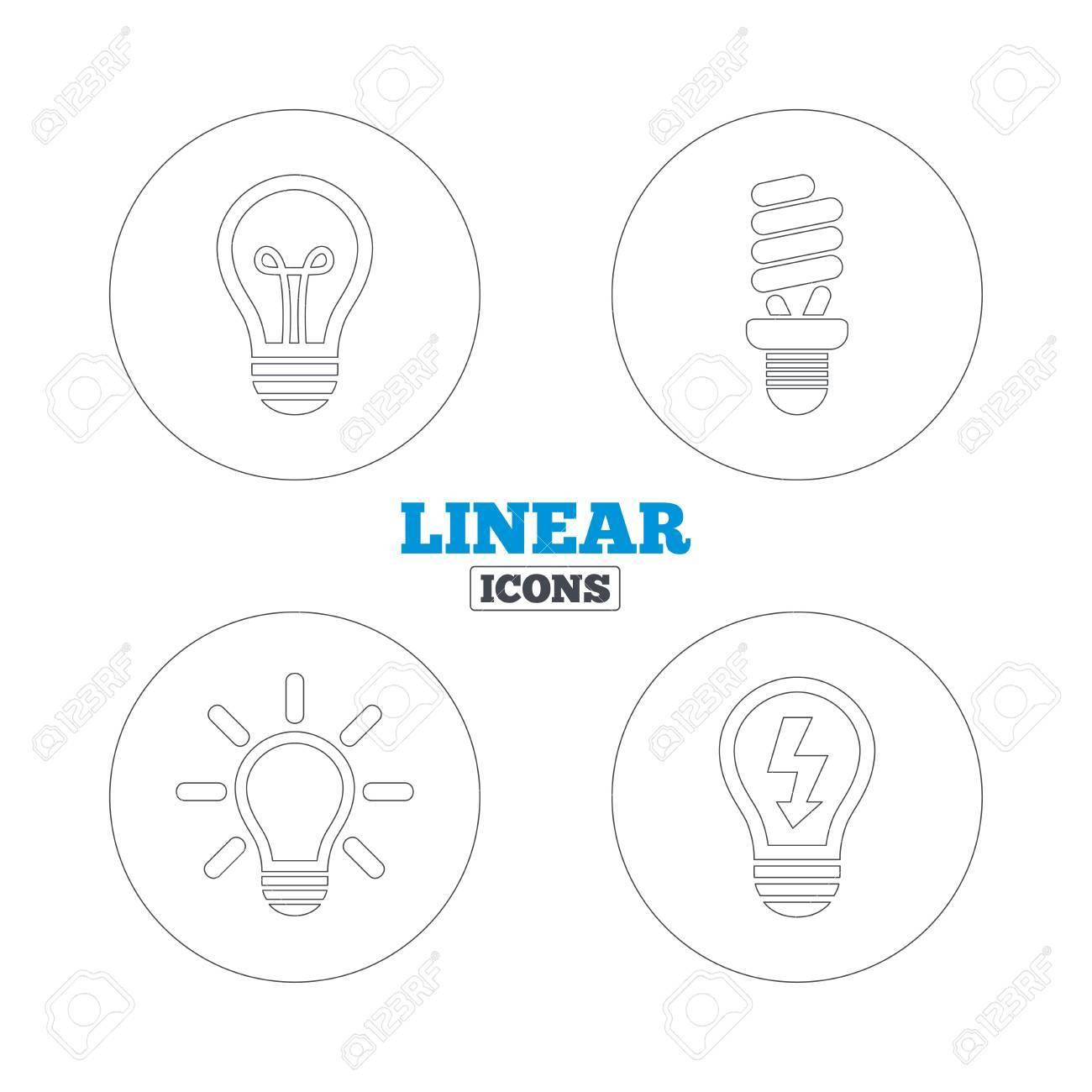 Light Lamp Icons. Fluorescent Lamp Bulb Symbols. Energy Saving ... for Fluorescent Lamp Symbol  59nar