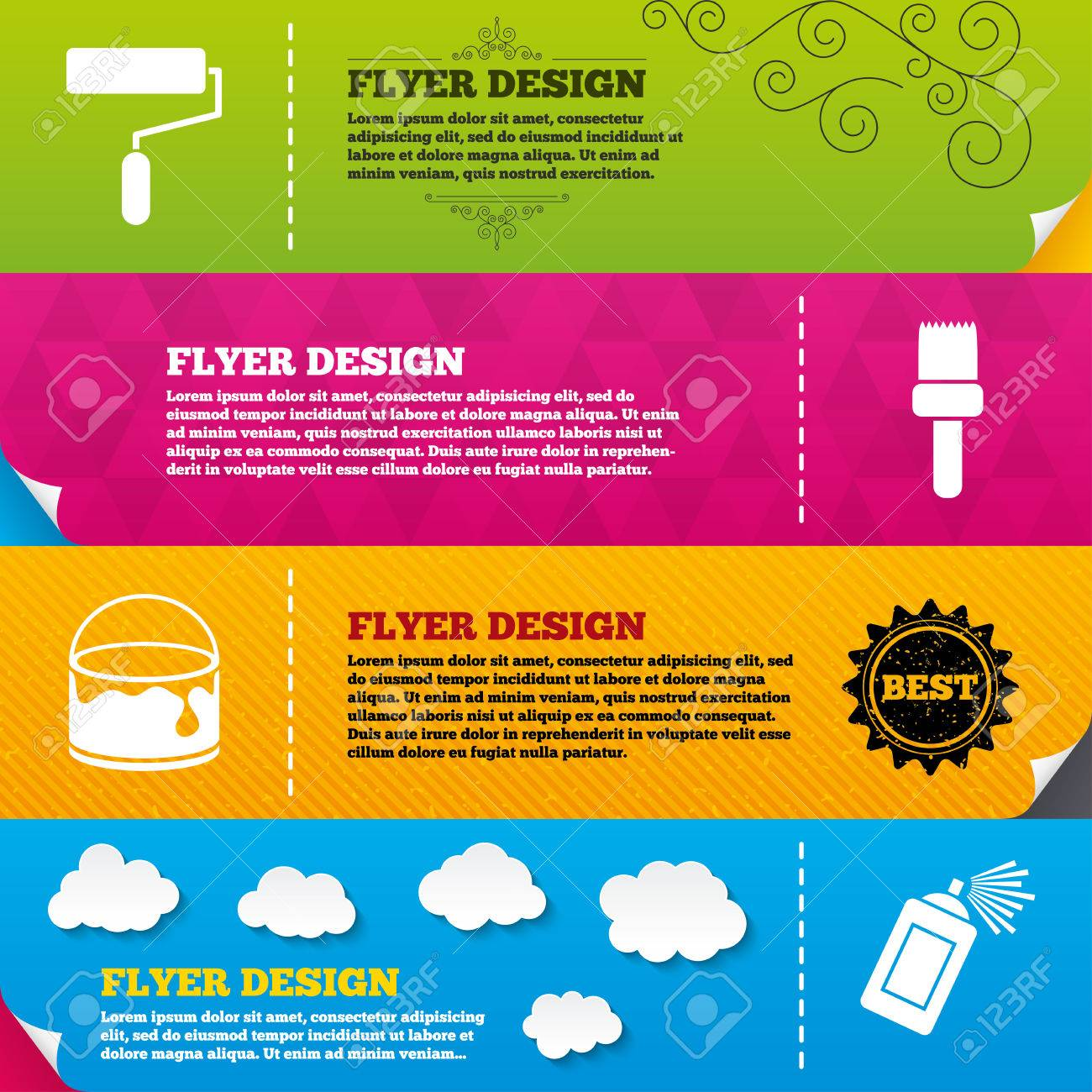 flyer brochure designs painting roller brush icons spray can flyer brochure designs painting roller brush icons spray can and bucket of paint