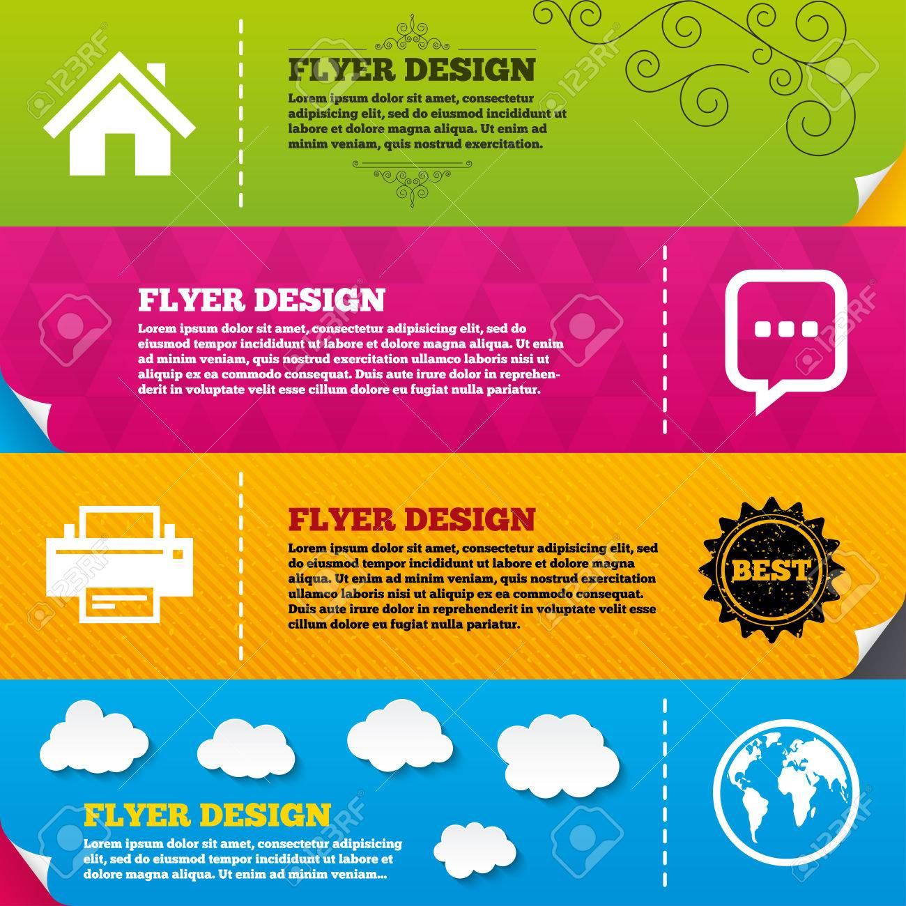 Flyer Broschüre Designs. Start-Seite, Und Globen. Drucker-und Chat ...