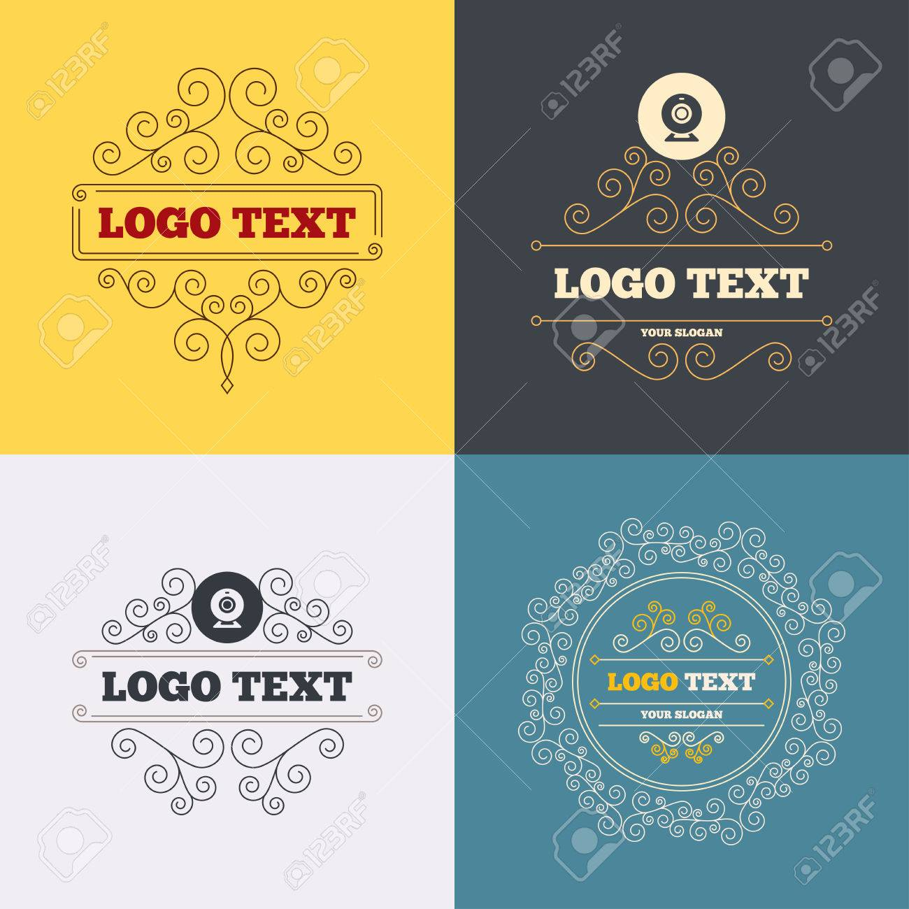 Vintage Flourishes Calligraphic Webcam Sign Icon Web Video Royalty Free Cliparts Vectors And Stock
