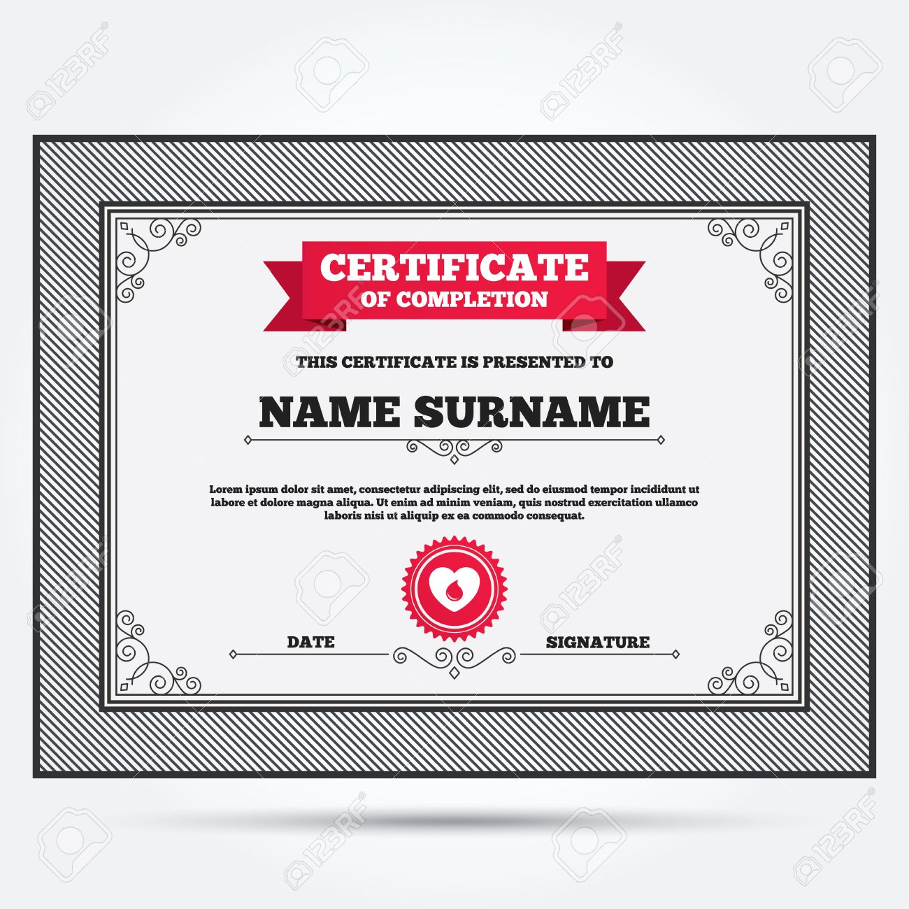 Certificate Of Completion. Blood Donation Sign Icon. Medical Donation.  Heart With Blood Drop  Certificate Of Donation Template