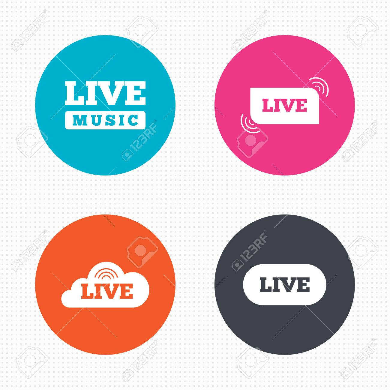 Circle Buttons Live Music Icons Karaoke Or On Air Stream Symbols