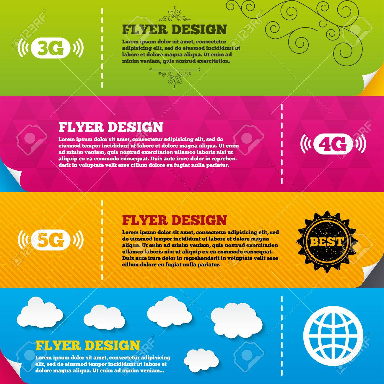 Flyer brochure designs  Mobile telecommunications icons  3G,