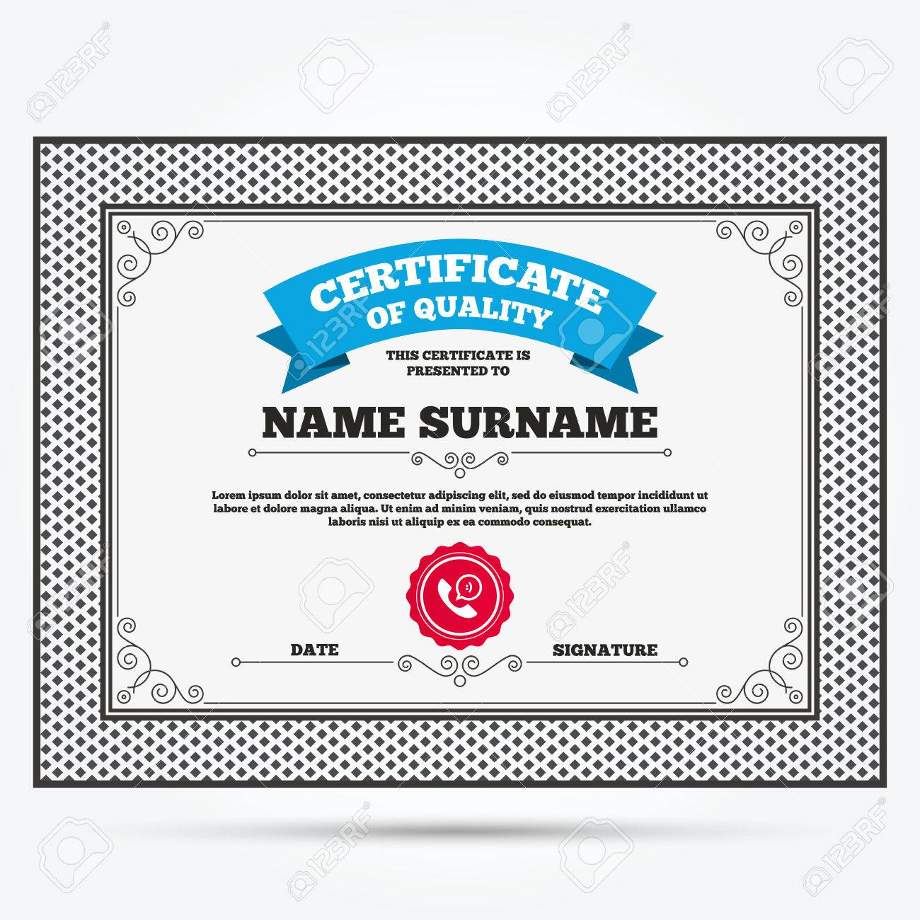 Certificate of quality  Phone sign icon  Support symbol  Call