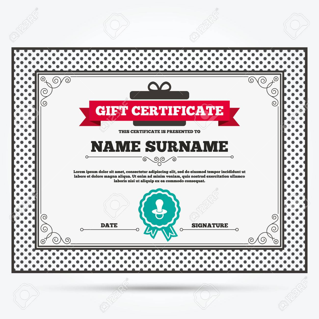 gift certificate baby s dummy sign icon child pacifier symbol gift certificate baby s dummy sign icon child pacifier symbol template vintage patterns