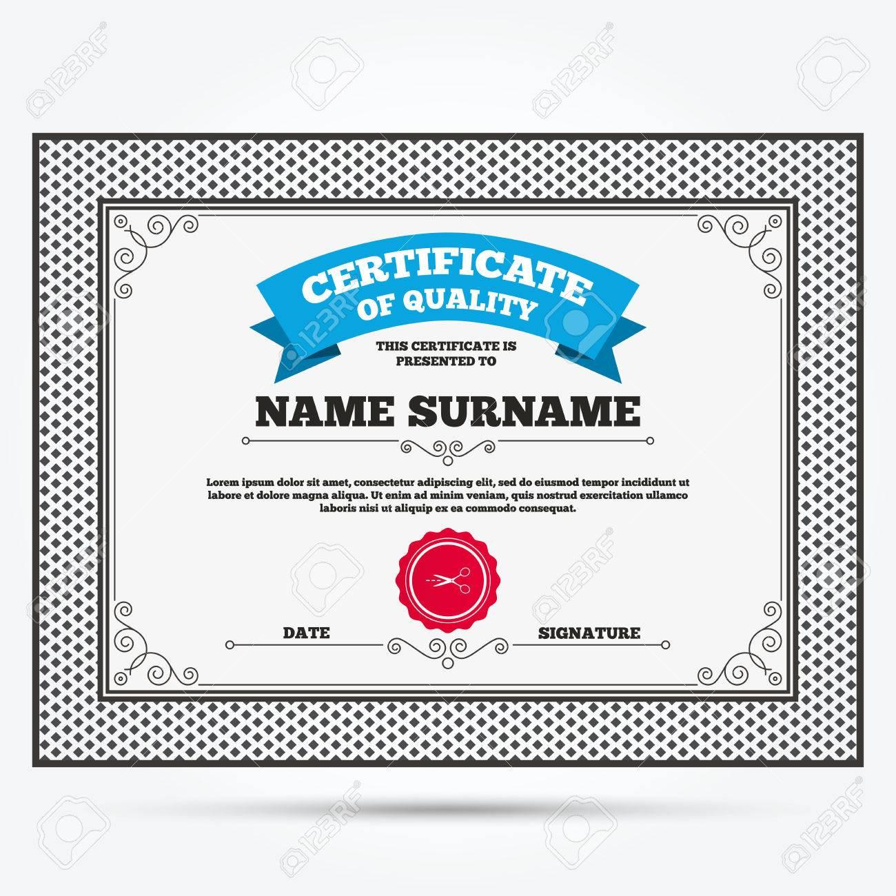 Certificado De Calidad. Tijeras Con Corte Tablero Signo Icono Línea ...