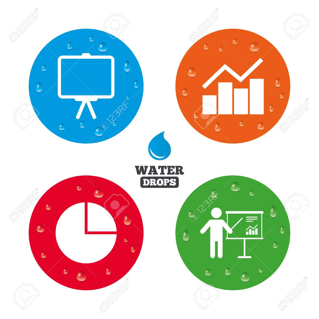 Water drops on button diagram graph pie chart icon presentation vector water drops on button diagram graph pie chart icon presentation billboard symbol man standing with pointer sign realistic pure raindrops on ccuart Choice Image