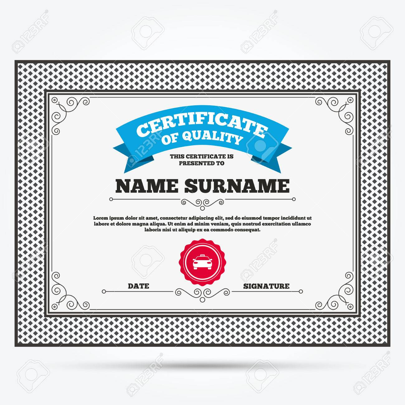 Certificate of quality taxi car sign icon public transport certificate of quality taxi car sign icon public transport symbol template with vintage 1betcityfo Gallery