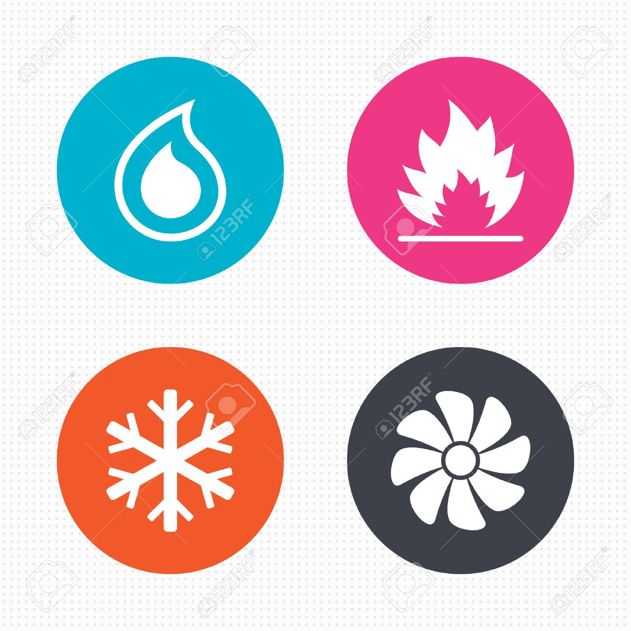 Circle Buttons. HVAC Icons. Heating, Ventilating And Air ...