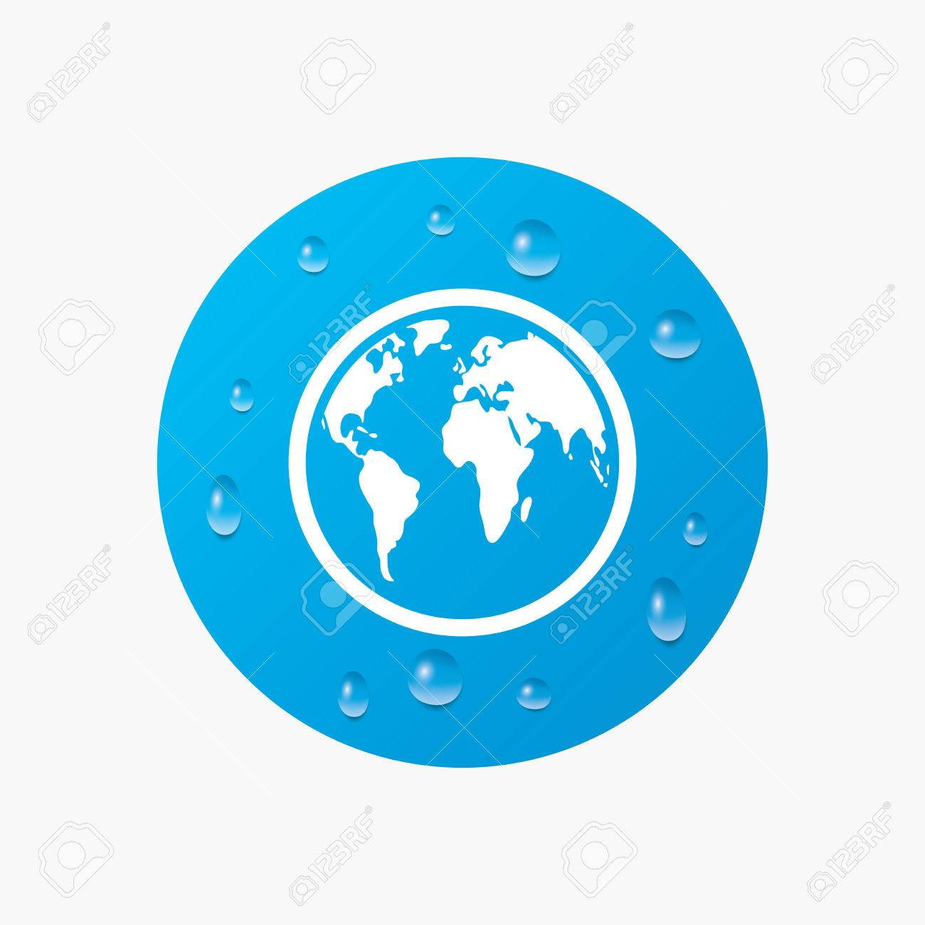Water drops on button globe sign icon world map geography symbol globe sign icon world map geography symbol realistic pure gumiabroncs Gallery