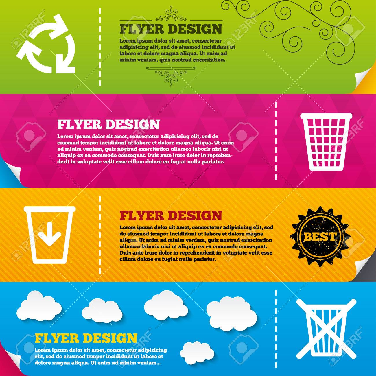 flyer brochure designs recycle bin icons reuse or reduce symbols