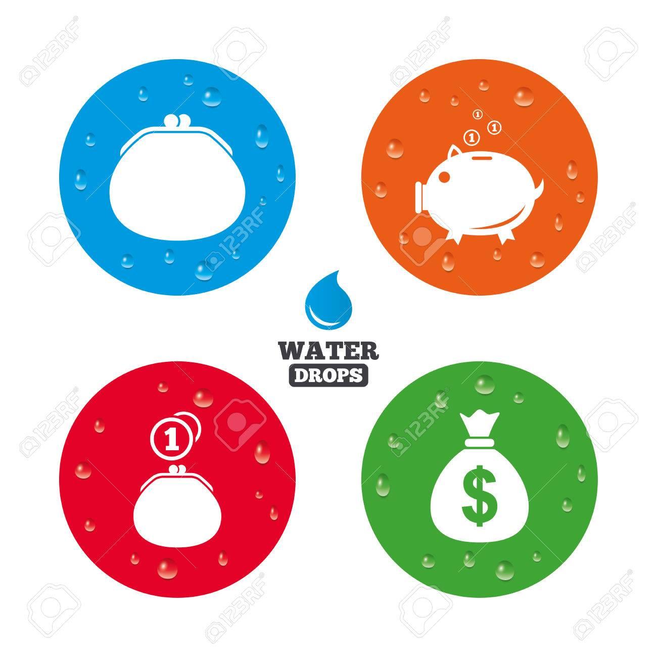 Wassertropfen Auf Der Taste Glücklicher Mutter Tag Icons Geldbörse