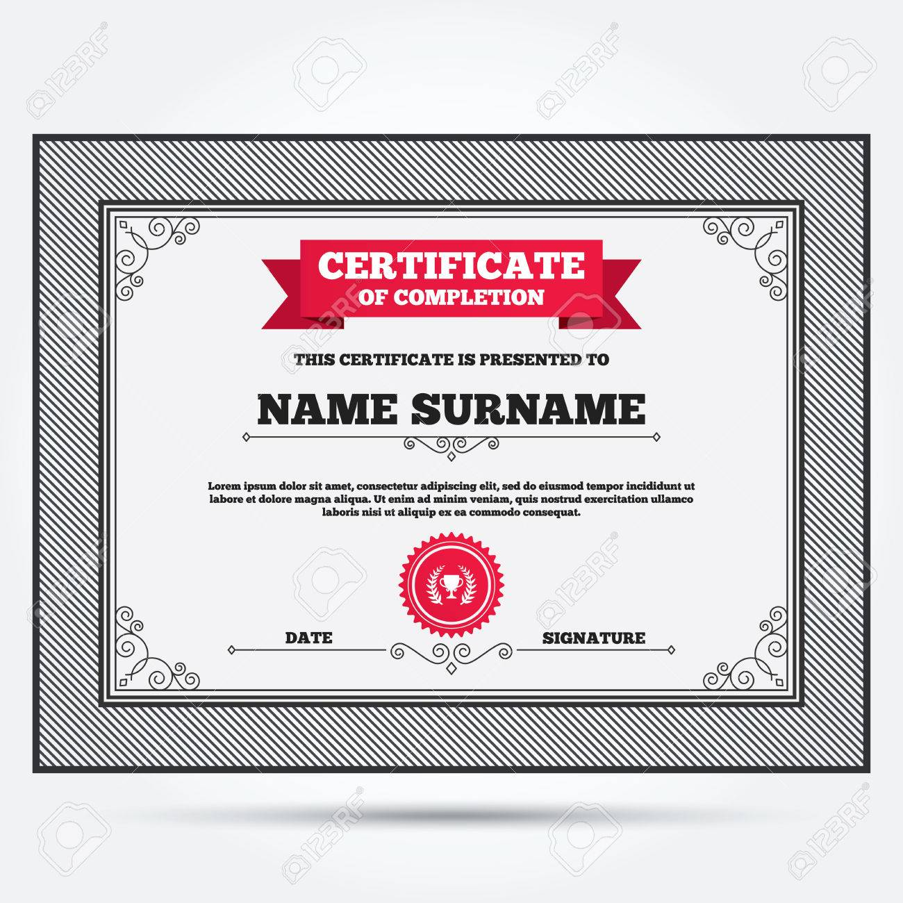 Certificate Of Completion. First Place Cup Award Sign Icon. Prize For Winner  Symbol.  Certificate Winner