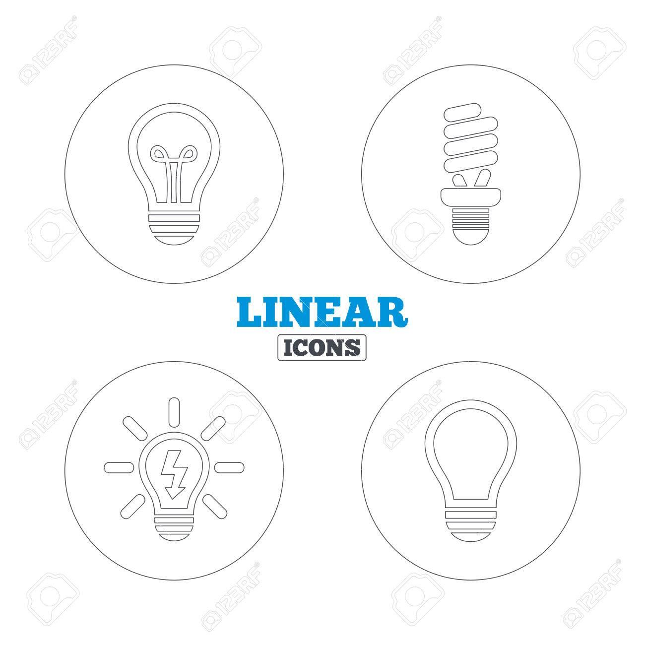 Light Lamp Icons Fluorescent Lamp Bulb Symbols Energy Saving
