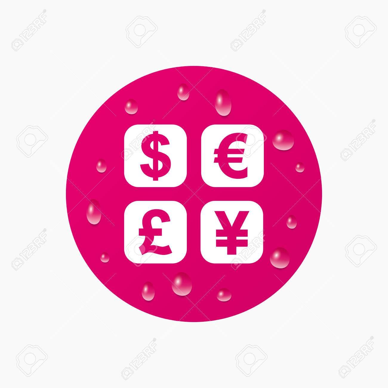 icono de signo de cambio de divisas moneda smbolo convertidor etiqueta de dinero las gotas de agua pura realistas crculo rosa vector