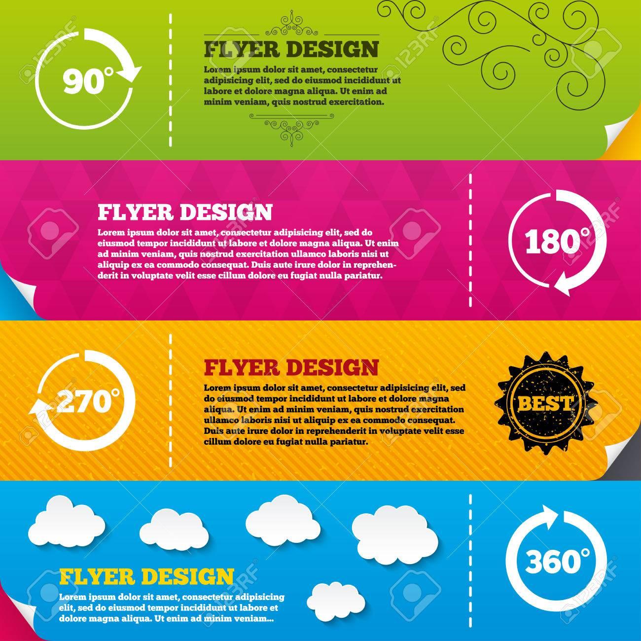 Flyer Broschüre Designs. Winkel Von 45 Bis 360 Grad Kreis Symbole ...