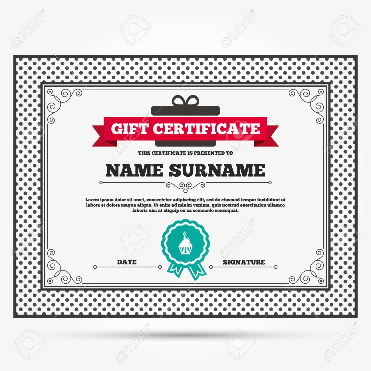 Gift certificate birthday cake sign icon cupcake with burning gift certificate birthday cake sign icon cupcake with burning candle symbol template with yelopaper Images
