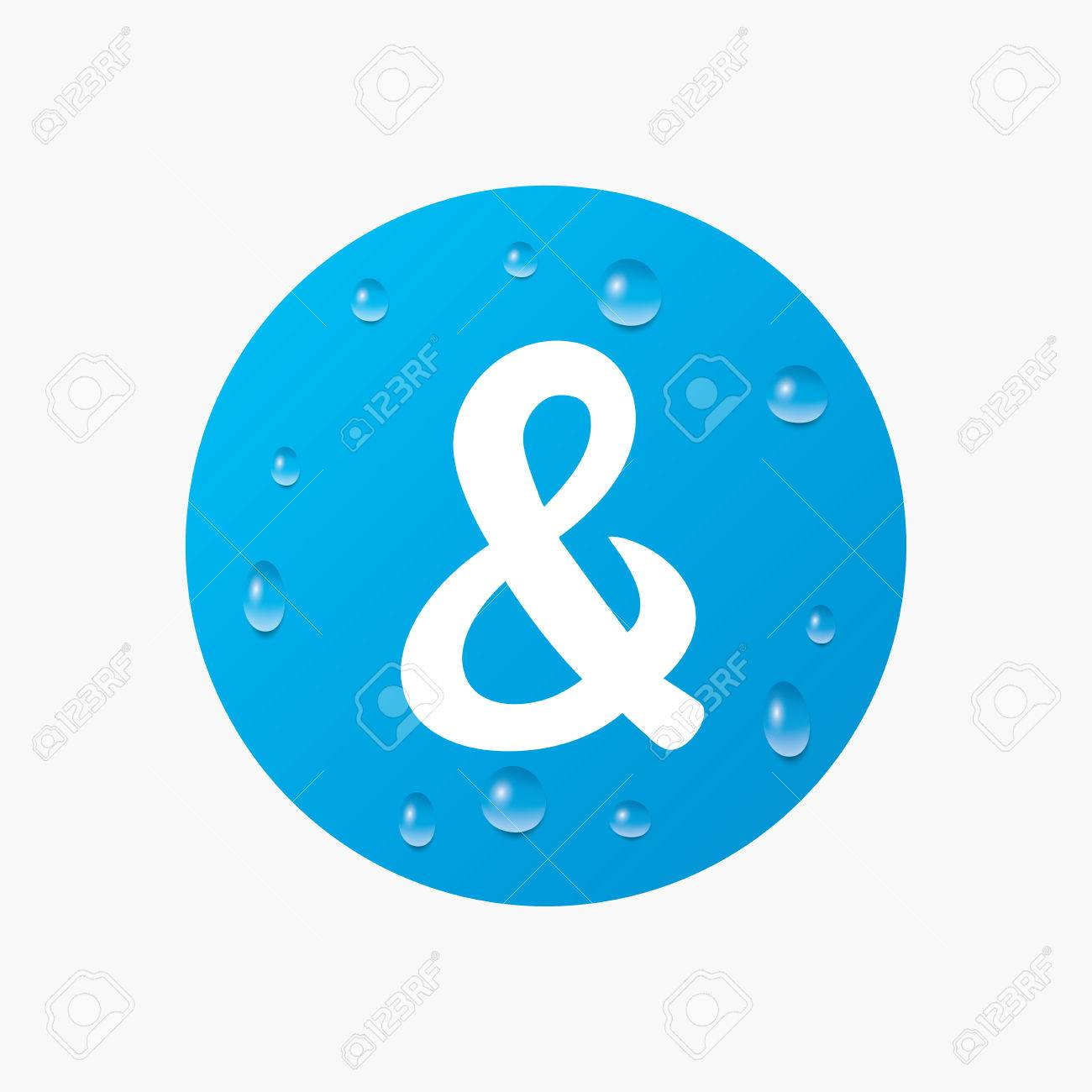 Water drops on button ampersand sign icon programming logical ampersand sign icon programming logical operator and wedding invitation symbol realistic pure raindrops blue circle vector stopboris Images