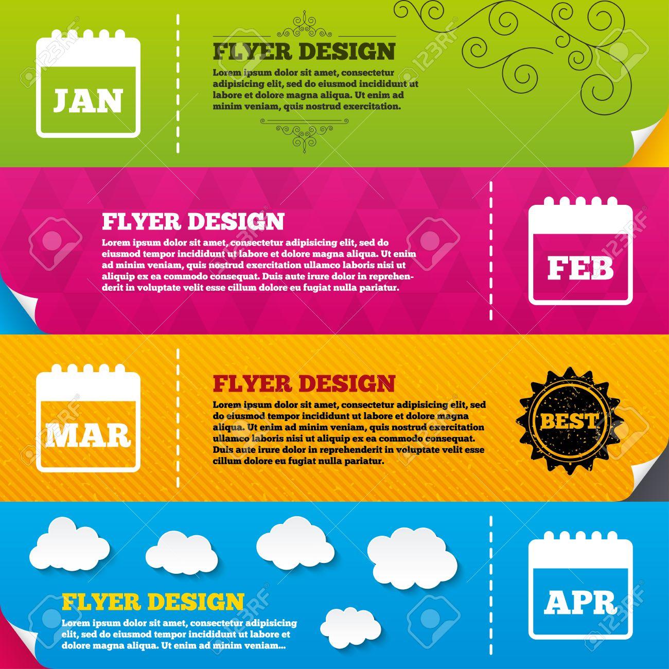 Flyer Brochure Designs. Calendar Icons. January, February, March ...