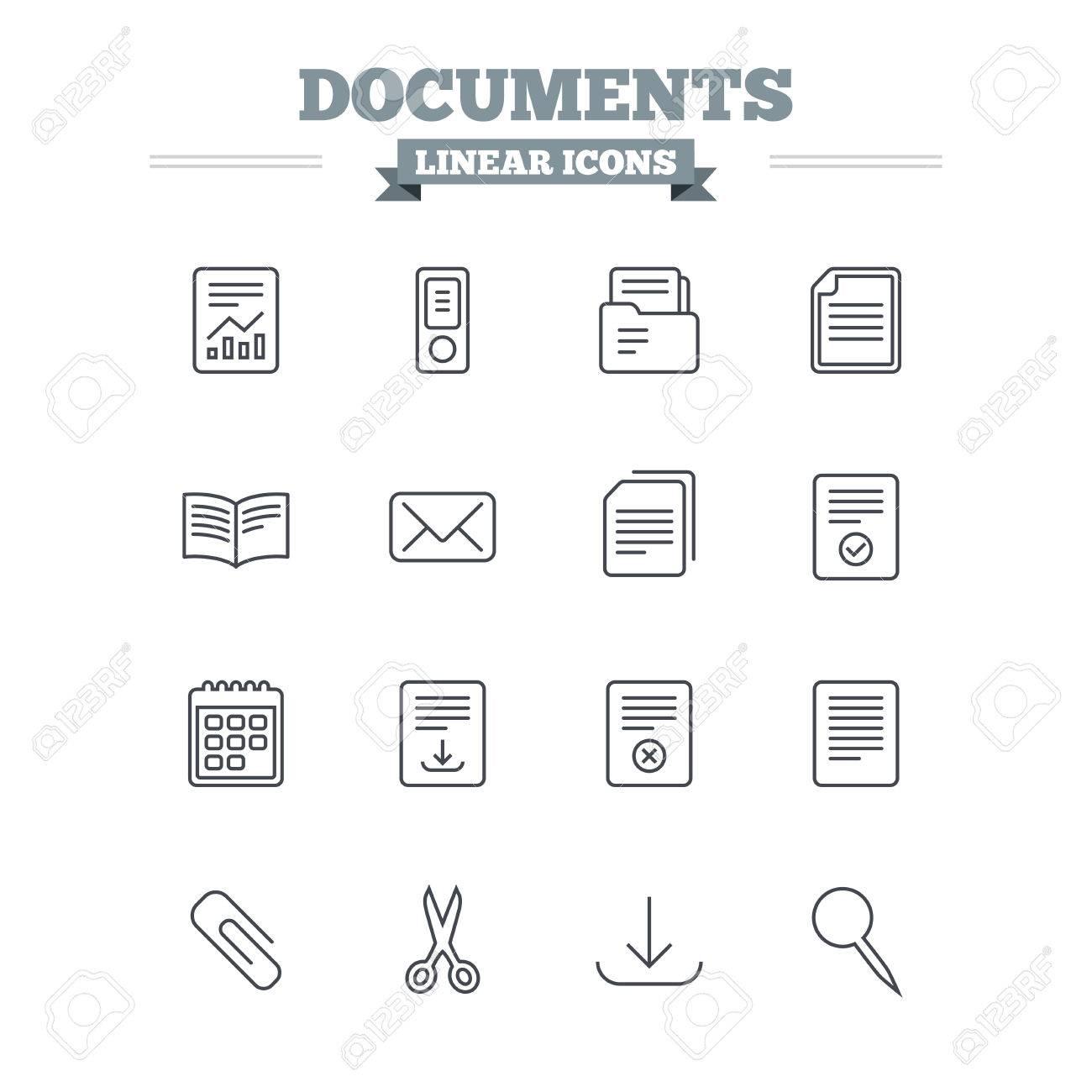 Courrier Et Calendrier.Documents Lineaires Icons Set Comptables Livres Et Calendrier Symboles Clip Papier Ciseaux Et Telecharger Fleche Contour Mince Signe Enveloppe De