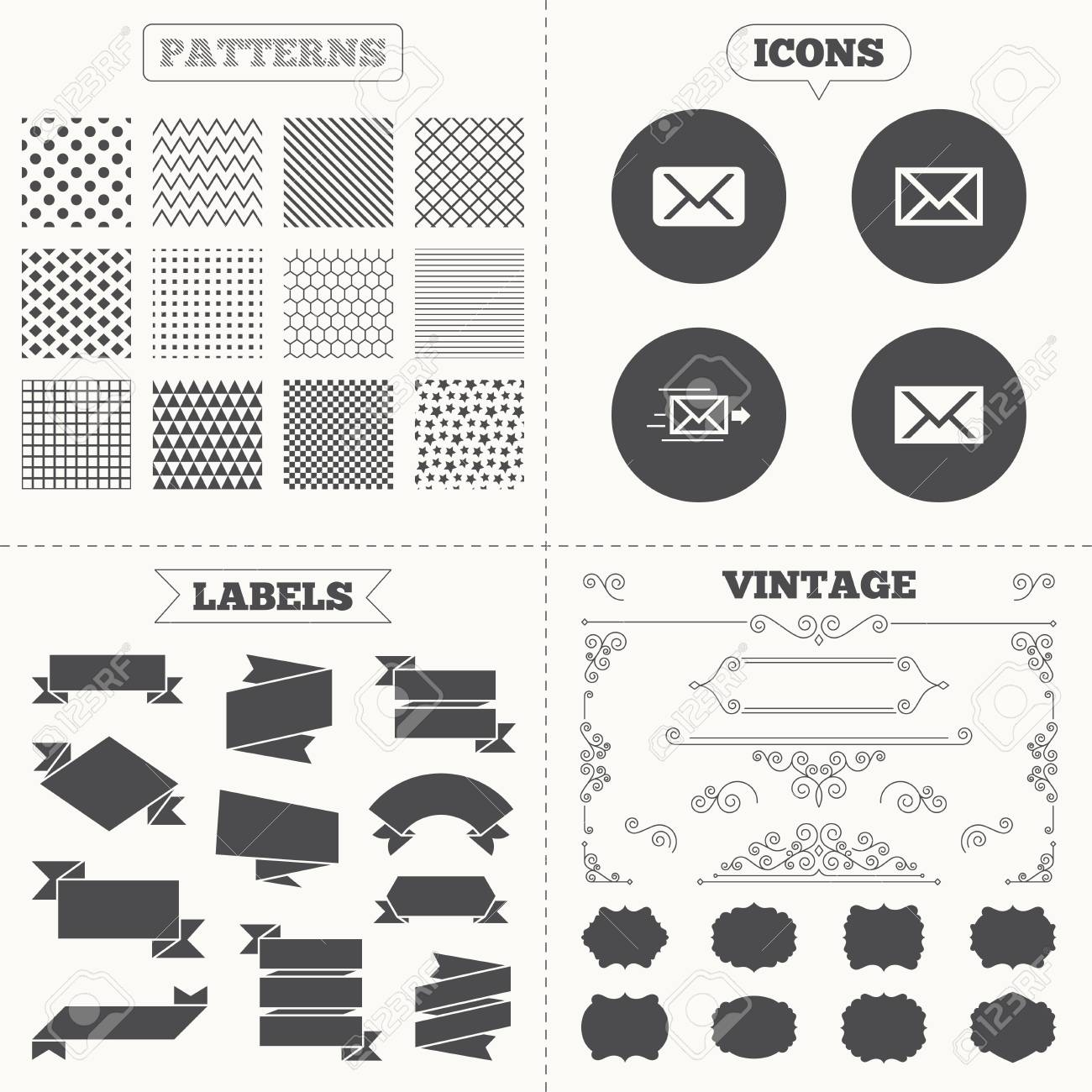 Nahtlose Muster Verkauf Etiketten Etiketten Mail Umschlag Symbole